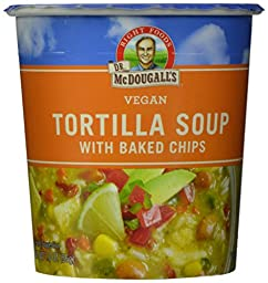 Dr. McDougall\'s Right Foods Vegan Tortilla Soup with Baked Chips, 2-Ounce Cups (Pack of 6)