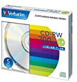 三菱化学メディア Verbatim CD-RW 700MB くり返し記録用 1-4倍速 5mmケース 5枚パック シルバーディスク SW80QU5V1