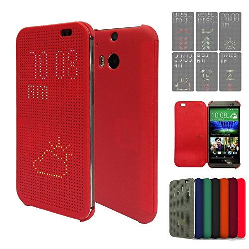 Eallc New Replacement Htc Hc M100 Dot View Matrix Mesh Flip Case / Cover For Lastest Htc One (M8) & Us Free Delivery (Red)