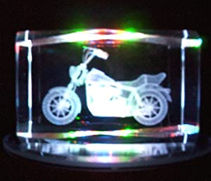 Laser Etched Crystal Cube Motorcycle