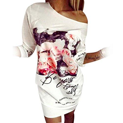 Kwok Dress, Women's Summer Style Floral Print Mini Dresses (L)