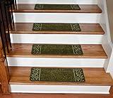 Dean Washable Non-Skid Carpet Stair Treads - Garden Path Green (13)