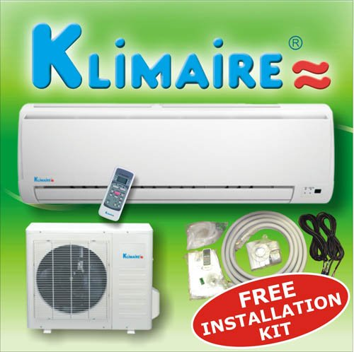 Klimaire 18000 btuh 13 SEER mini split ductless a/c air conditioner & heat pump 220V / 60Hz with free installation kit