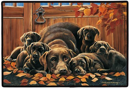 CHOCOLATE LAB FAMILY DOORMAT by Pollyanna Pickering