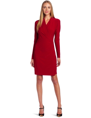 KAMALIKULTURE Women's Long Sleeve Side Draped Dress