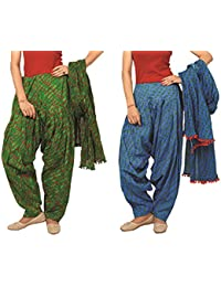 Rama Set Of 2 Striped Design Blue & Green Colour Cotton Full Patiala With Dupatta Set