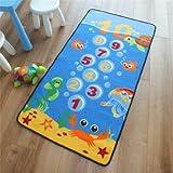 Superb Kids / Childs Rug Under-Sea Blue Hopscotch Play Mat 0.8m x 1.5m (2'6 x 5' approx)