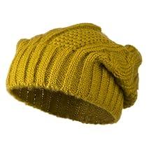 Big Skullie Cable Beanie - Mustard OSFM