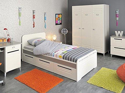 Kinderzimmer Lavoro 1, weiß / grau-silber 6-tlg. Schrank, Bett, Nachttisch , Kommode günstig online kaufen