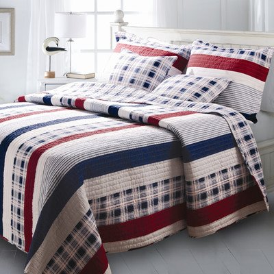 Bundle-89 Nautical Stripe Quilt Set Size: Full/Queen