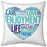 Valentine Gifts for Boyfriend Husband Birthday Anniversary Romantic Love Printed Cushion 12X12 Filled Pillow Blue Love Description Gift for Him Men Fiance