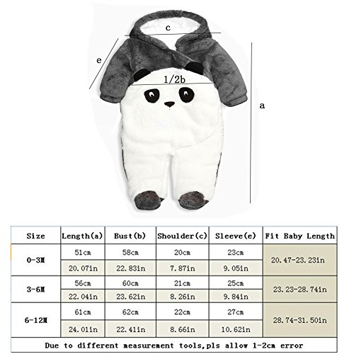 Fairy Baby Baby Boy Girl Winter Flannel Bunting Outfits Romper Outwear,6-12M,Grey Panda