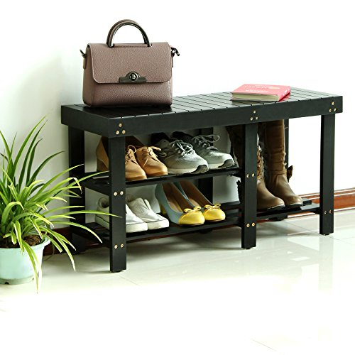 Foyer Boot Bench : Songmics entryway wooden shoe bench boot rack organizer