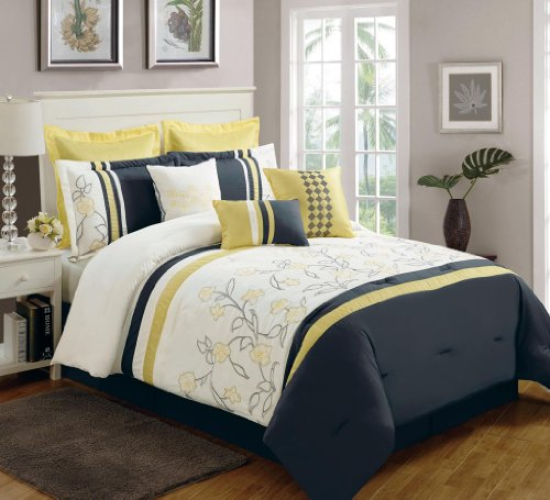 Yellow Black And White Bedding