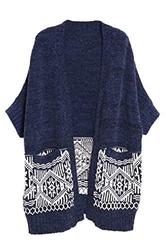 Pink Wind Women Boyfriend Pocket Skit Long Cardigan Sweater Coat Blue
