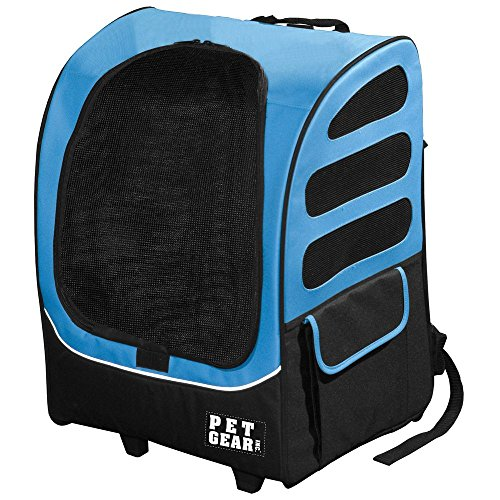 Pet Gear I-Go2 Plus Traveler Rolling Backpack Carrier for cats and dogs, Ocean Blue