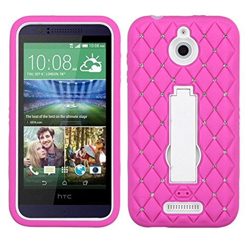 MyBat Asmyna HTC Desire 510 Symbiosis Stand Protector Cover with Diamonds - Retail Packaging - White/Hot Pink