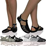 H3N Womens Ladies Flat Jelly Sandals Strappy Buckle Summer Holiday Shoes Sizes Black Size 5 UK