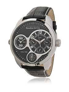 Boudier & Cie Herren - Armbanduhr  mit Zwei Zeitzonen - analoge Anzeige - Echtlederarmband und Edelstahlgehäuse 48 mm - OZG1083