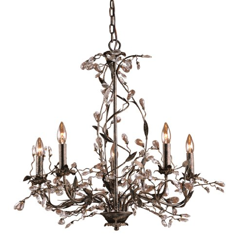 B000U5JBS2 Elk 8054/5 5-Light Chandelier In Deep Rust and Crystal Droplets