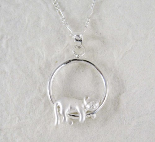 Sterling Silver Napping Kitty Necklace, 16 inches