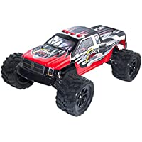 Aleko 66969 4 Wd 2.4 Ghz Off Road Electric Power High Speed Monster Truck, Red 1/12 Scale