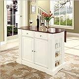 Crosley Furniture Drop Leaf Breakfast Bar Top Kitchen Island in White Finish