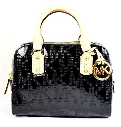 Michael Kors Mk Signature Mirror Metallic Xs Extra Small Satchel Bag Black
