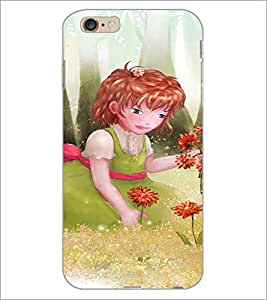 PrintDhaba Girl with Flowers D-2656 Back Case Cover for APPLE IPHONE 6S PLUS (Multi-Coloured)