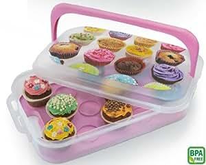 Boîte de transport et de présentation pour 14 muffins ou cupcakes avec décor 7 l transparent