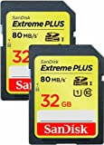 SanDisk SDSDXS2-032G-X46 32 GB Extreme PLUS 80 MB/s Class 10 UHS-I SDHC (Pack of 2)