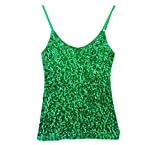 Whitewed Spaghetti Strap Sequin Ssequence Jersey Glitter Tank Tops Juniors Green