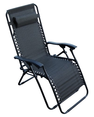 Black Reclining Garden Sun Lounger Armrest Headrest Relaxing