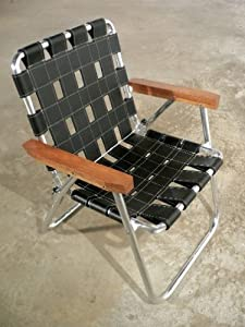 Plodes RECH reDO Lawn Chair - Black Leather with White Stitching and Cherry Arms