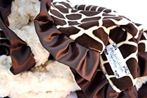 Giraffe Print Minky Baby Blanket with Satin Ruffle Trim Personalization Included