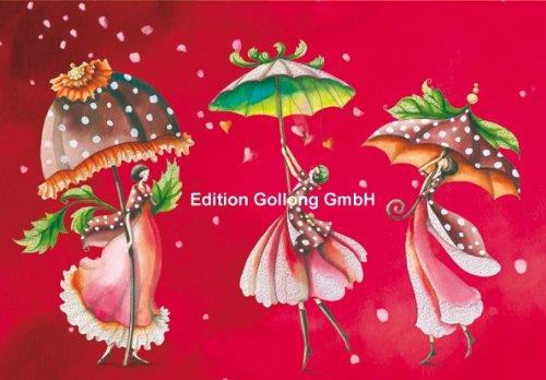 Doppelkarte mit Umschlag ~ Nina Chen ~ Frauen mit Schirmen (mit Glimmerlack)