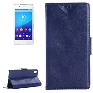 Oil Skin Texture Horizontal Flip Leather Case with Holder & Card Slots & Wallet for Sony Xperia Z4 (Dark Blue)