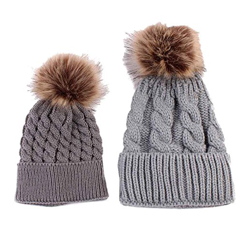 Nation Mom And Baby Knitting Keep Warm Hat Headwear Hat Caps (Gray)