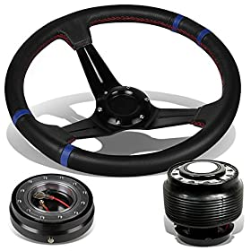 "Civic/Del Sol/Integra 3""Black/Blue Deep Dish Steering Wheel+Hub Adapter+Quick Release - EG DC"