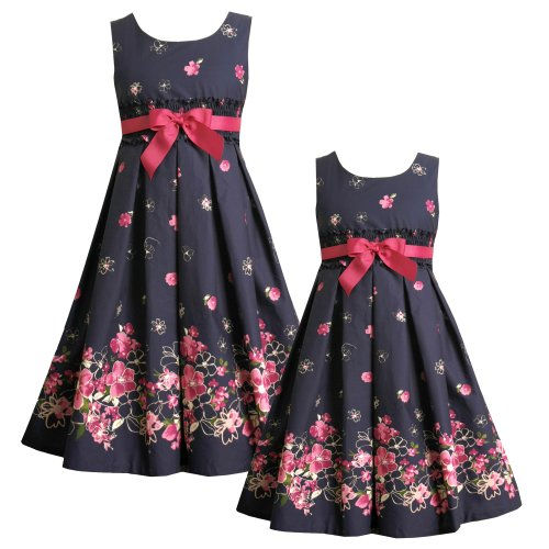 Size-5 BNJ-0583-B NAVY-BLUE PINK SMOCKED CINCH WAIST FLORAL BORDER Special Occasion Wedding Flower Girl Recital Party Dress,B30583 Bonnie Jean LITTLE GIRLS