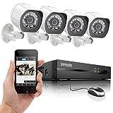Sistema de Seguridad Zmodo ZP-KE1H04-S NVR sPoE con 4 cámaras HD 720p para exterior e interior y visión nocturna, blanco