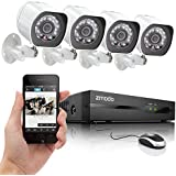 Zmodo ZP-KE1H04-S NVR sPoE Security System with 4 HD 720p Indoor Outdoor Night Vision IP Cameras with No Hard Drive (White)