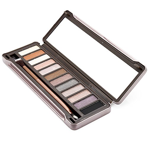 Professional 12 Color Natural Earth Tone Eyeshadow Palette W/ Brush Mirror
