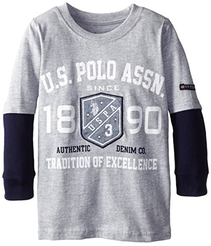 U.S. Polo Assn. Boy'S Jersey Graphic T-Shirt With Thermal Hang Down Sleeves, Light Heather Gray, 5/6