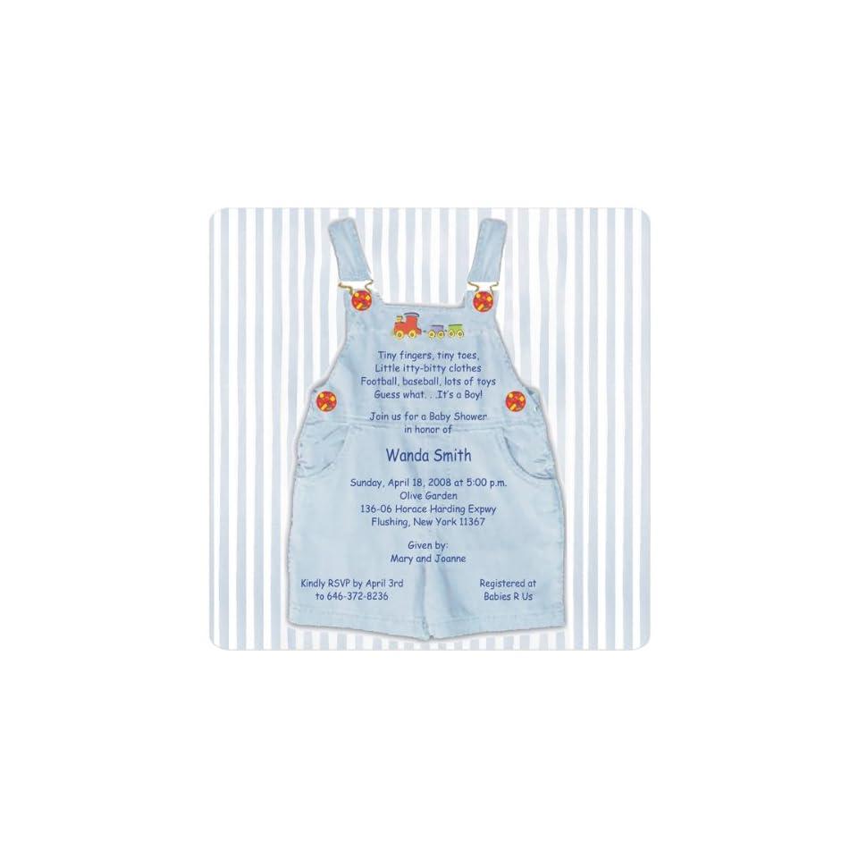 Blue Overalls Magnet Medium Baby Shower Invitations
