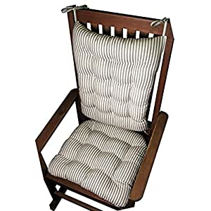 Rocking Chair Cushion Set Mag Ticking Stripe