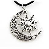 Steampunk - Crescent Moon and Sun Necklace Supernatural GOT Lovers Couples Pendant - silv
