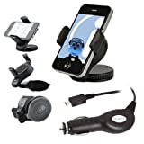ITALKonline iHOLDER UNIVERSAL COMPACT 360 Degrees Rotating Case Compatible Wind Screen Dashboard Suction Mount Holder with Car Charger for Motorola Motoluxe