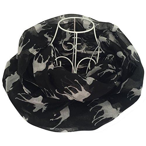 Btmall Cute Moose Print Infinity Loop Scarves For Women (Black)