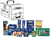 Dixon Prang School Kit with School Bus Activity Box, Includes Markers, Crayons, Pencils, Glue Stick and Watercolors, Assorted Colors (43107)
